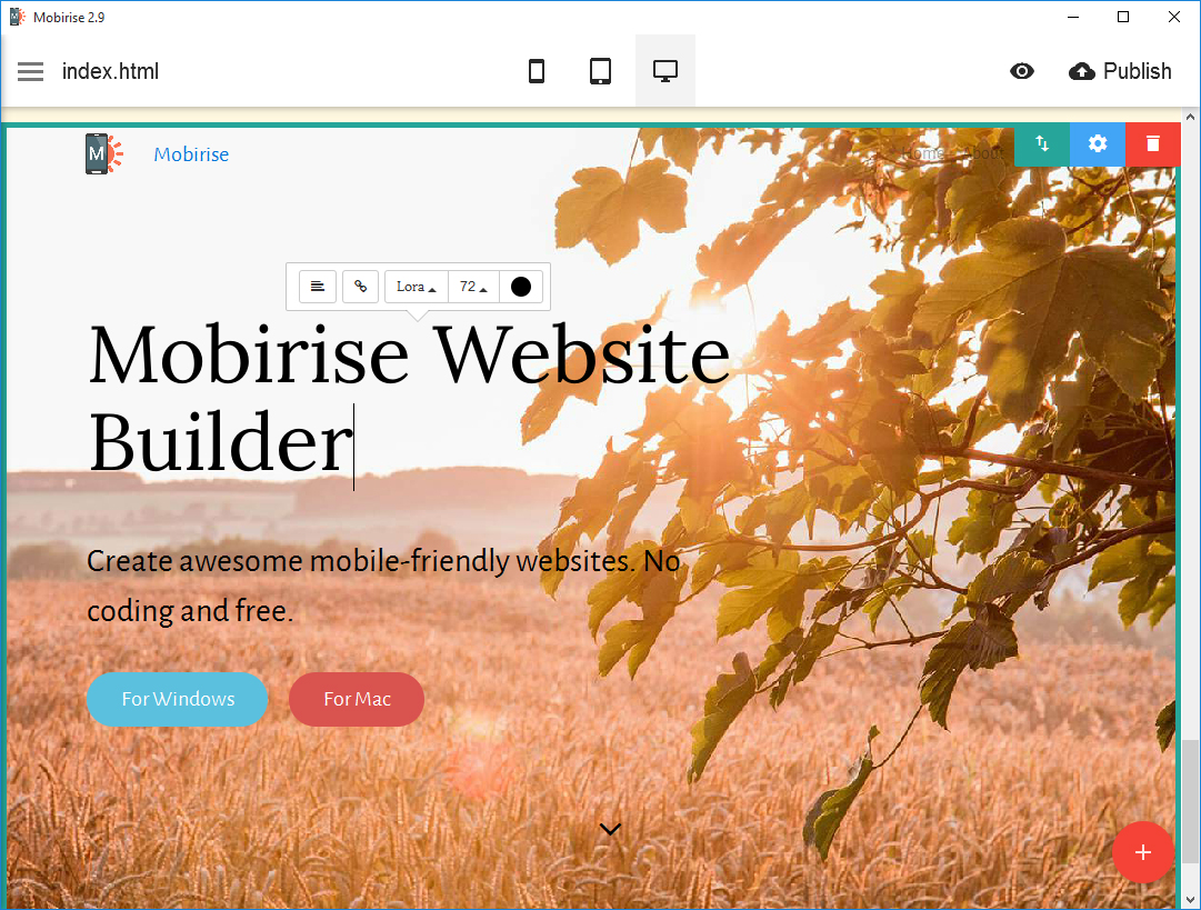Unlike any other top 10 website builders, using Mobirise gives you a chance to create a website in a simple way