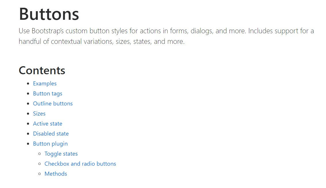 Bootstrap buttons  approved documentation