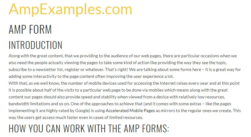Let us  explore AMP project and AMP-form  component?