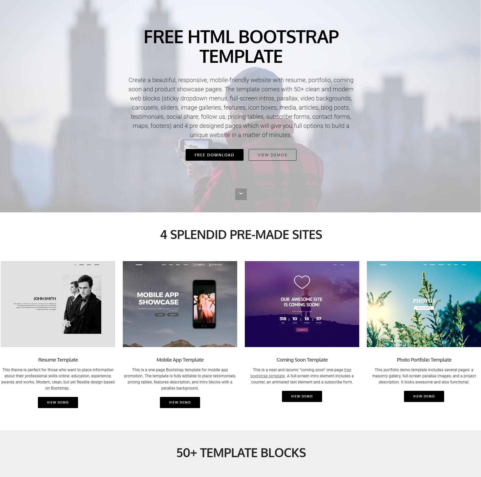 40+ Killer Free HTML Bootstrap Templates 2018