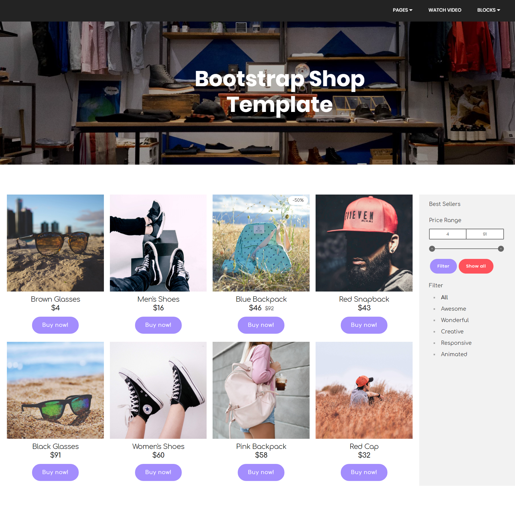 HTML Bootstrap Shop Themes