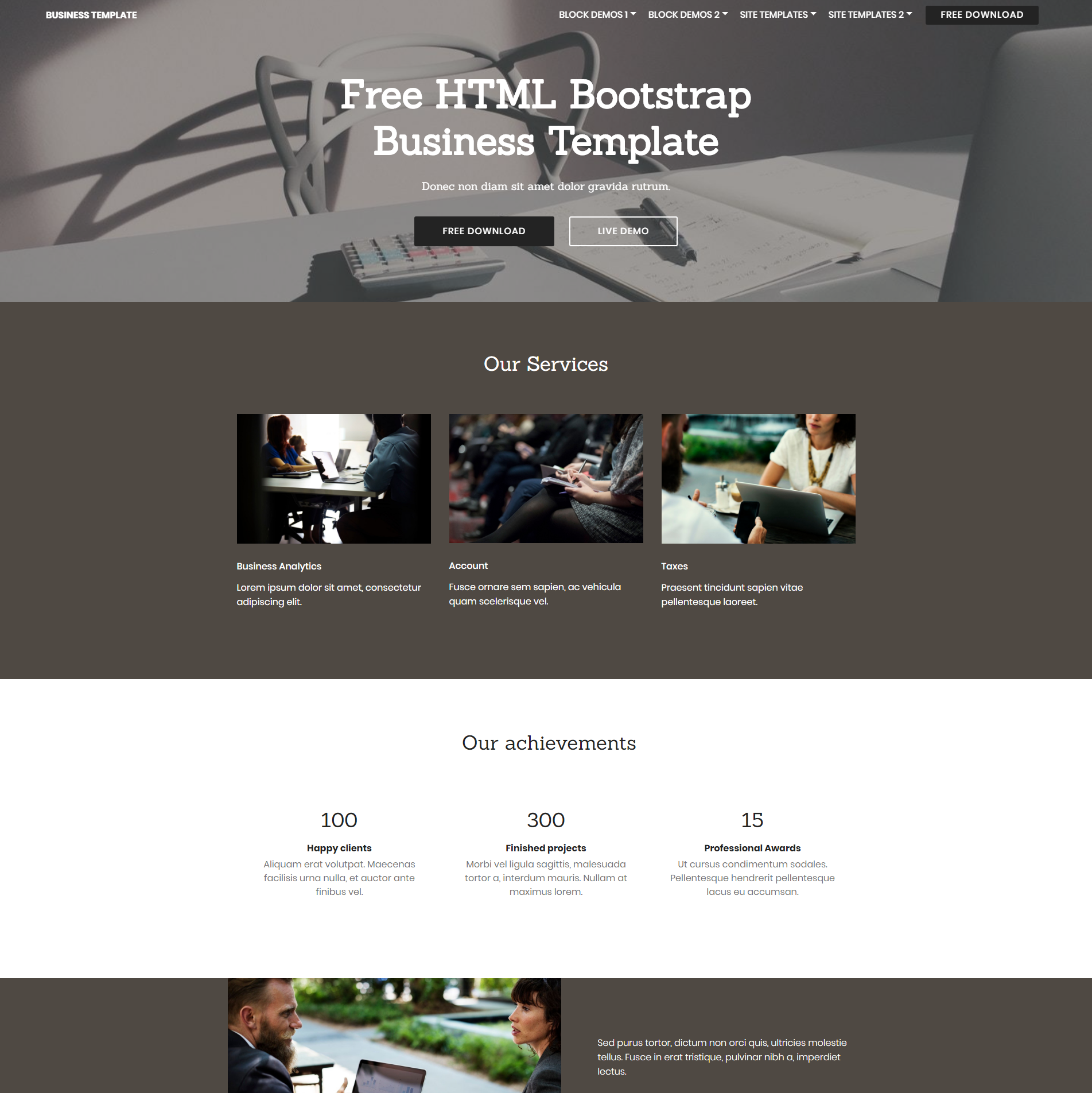 Free Download Bootstrap Business Themes