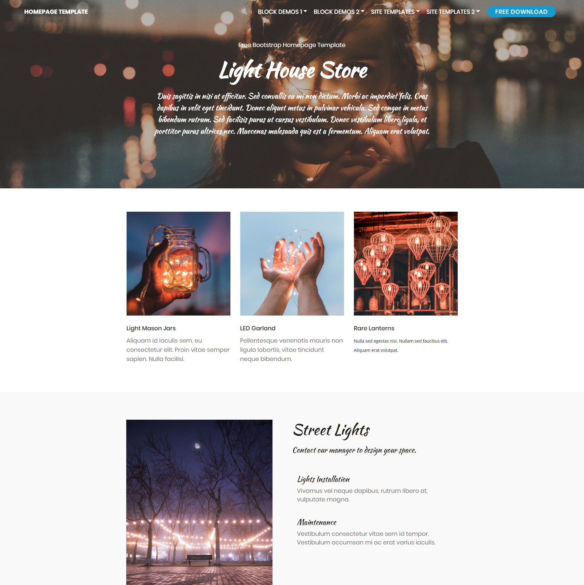 Free Bootstrap Homepage Templates