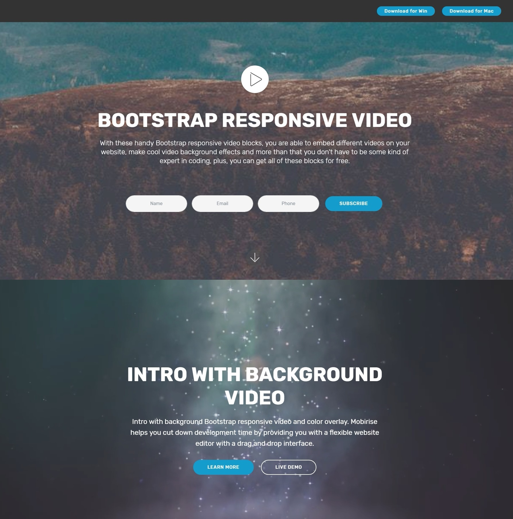 Super Slick JavaScript Bootstrap Responsive Video Players and Toggle