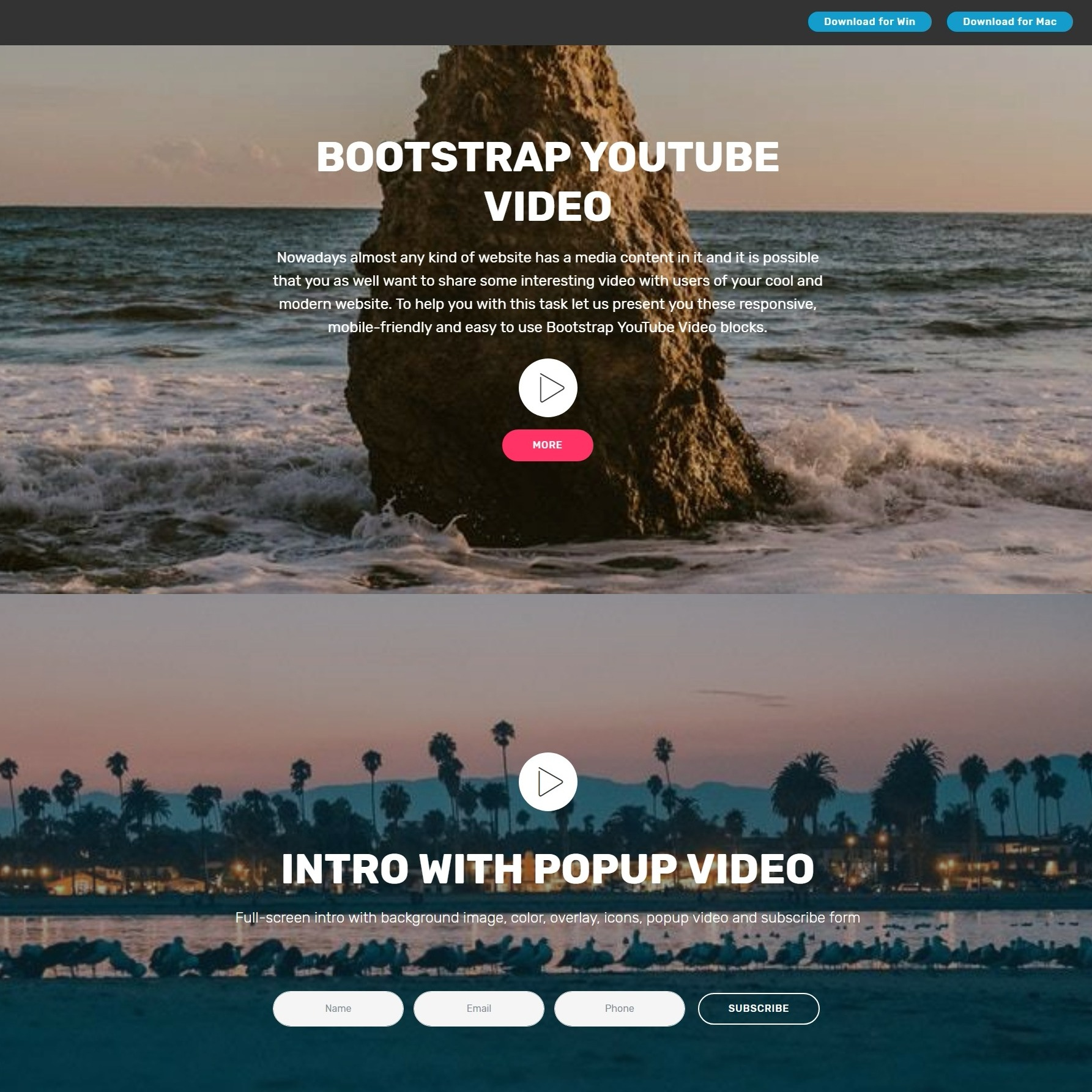Super Slick JavaScript Bootstrap Responsive Video Players